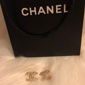 Authentic CHANEL Faded Gold & Crystal stud